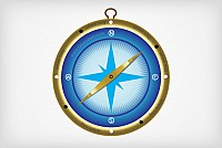 Blue Compass Vector Graphic