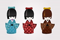 Japanese Kokeshi Dolls Vector