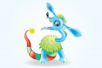 Blue Monster Cartoon Character Vector