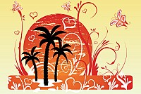 Sunset Palm Trees Vector