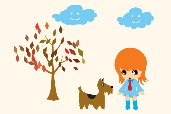 Chibi Aiko with Dog Vector
