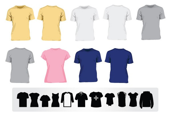 Vector T-shirt Templates and T-shirt Icons