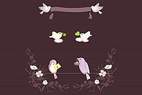 Cute Birds Messages Vector