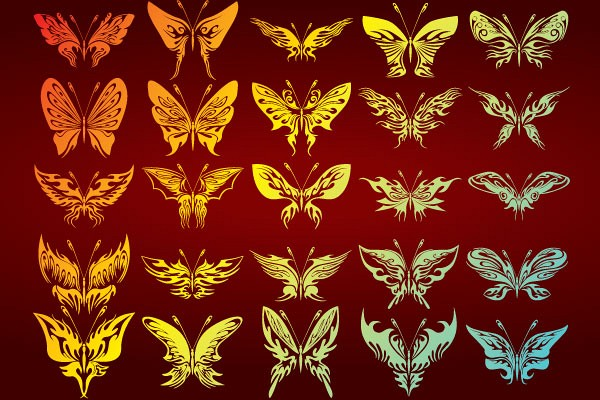 Vector Butterfies Silhouettes