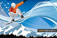Jumping Snowboarder Vector Graphic