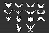 Abstract Eagle Vector Silhouettes