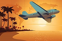 Sunset Beach Aeroplane Vector