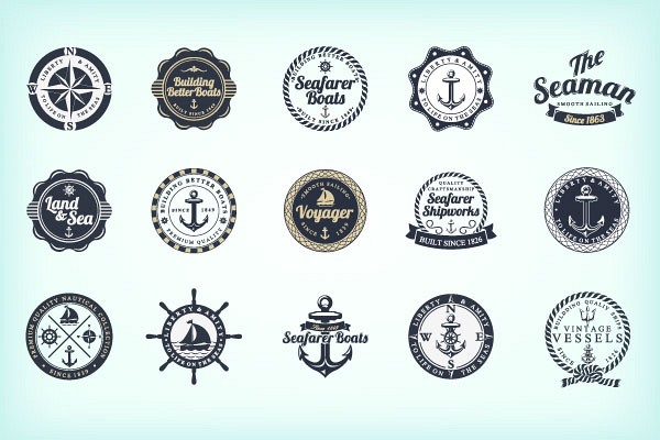 Ocean and Sea Vector Badges and Stamps
