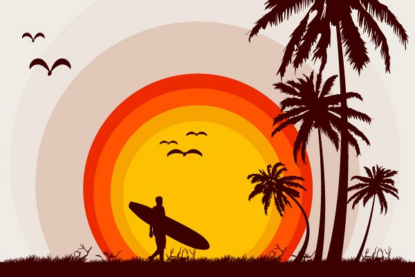 Sunset Beach Vector Illustration