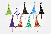 Whimsy Christmas Trees Vector