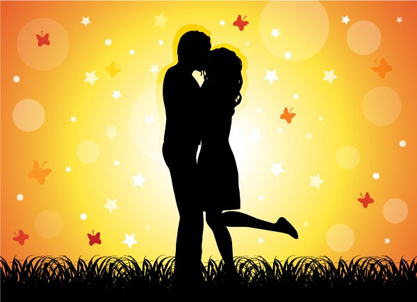 Kissing Couple Vector Graphic