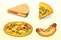 Fastfood Meals Vector Illustration
