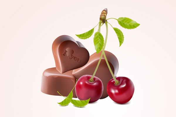 Chocolate & Cherry Candy Vector