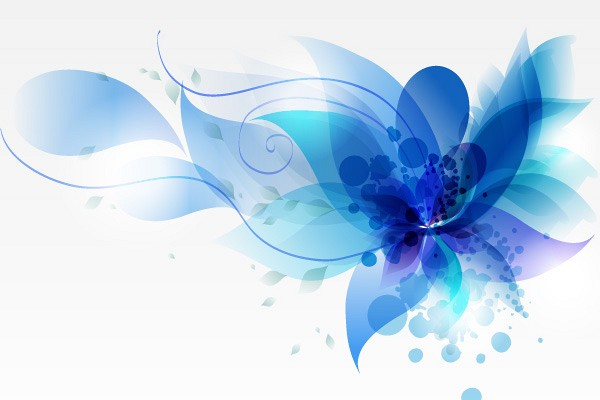 Blue Abstract Flower Vector Background