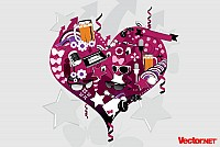 Crazy Heart Vector Illustration