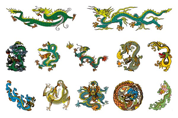Classic Chinese Dragons Vector
