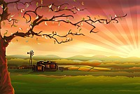 Country Scenery Vector Illustration