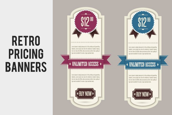 Retro Pricing Banners Vector