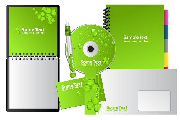 Green Business Stationery Vector Set