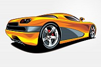 Futuristic Yellow Sports Car Vector