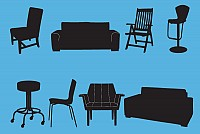 Chairs and Couches Vector Silhouettes