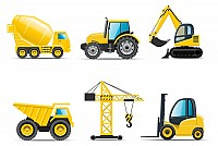 Construction Trucks & Crane Vector