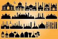 Islamic Mosques Vector Silhouettes