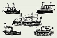 Vintage Vector Steam Ships