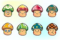 Cartoon Mushroom Characters Vector
