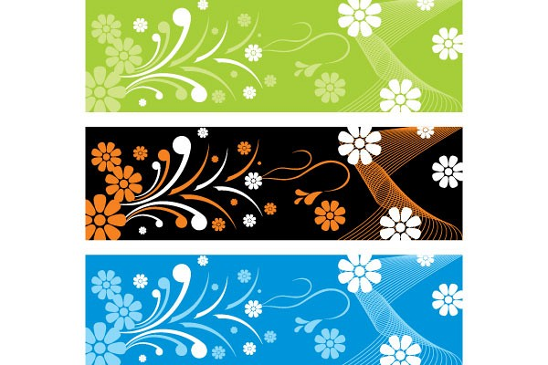 Floral Ornament Banners Vector