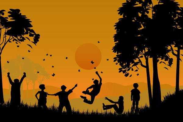 Playing Children Vector Silhouette