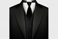 Men's Formal Black Suit Vector