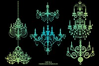 Six Vintage Vector Chandeliers