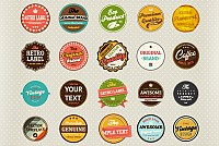 Round Retro Vector Labels