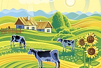 Country Farm Vector Illustration