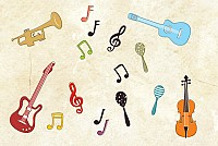Musical Instruments and Notes Vector