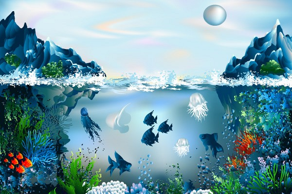 Underwater Coral Reef Vector Illustration