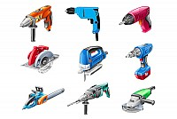 Electric Construction Tools Vector
