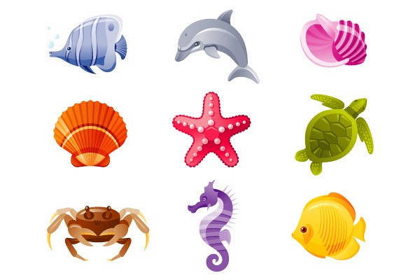 Tropical Sea Animals Vector