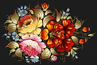 Floral Folk Art Painting Vector