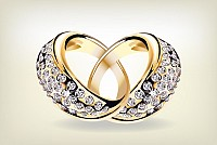 Golden Wedding Rings Vector