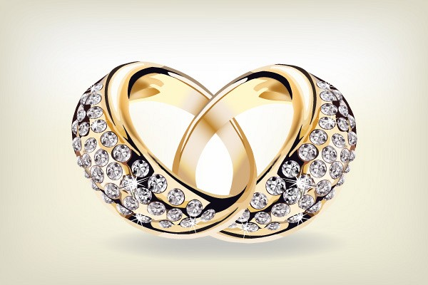 Golden Wedding Rings Vector TopVectorscom