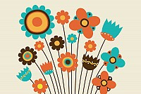 Kids Drawn Vector Flowers