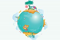 World Vacation Vector Graphic