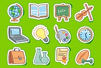 Cute Sticker School Icons