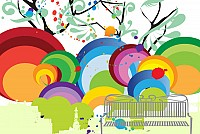 Colorful Park Scene Vector