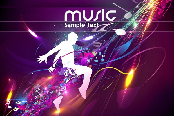 Purple Music Themed Vector Background