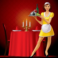 Restaurant Waitress Vector Illustration