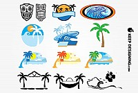 Hawaiian Beach Vector Elements