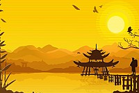 Oriental Sunset Vector Background